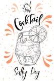 Vektord-clip Plakat Cocktail-salziger Hund für Restaurant und Café Hand gezeichnete Abbildung Lizenzfreie Abbildung