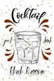 Vektord-clip Plakat Cocktail-schwarzer Russe für Restaurant und Café Hand gezeichnete Abbildung Vektor Abbildung