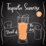 Vektord-clip Plakat Cocktail Tequila-Sonnenaufgang für Restaurant und Café Hand gezeichnete Abbildung Lizenzfreie Abbildung