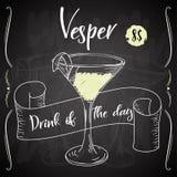Vektord-clip Plakat Cocktail Vesper für Restaurant und Café Hand gezeichnete Abbildung Stock Abbildung