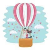 Vektordatei vorhanden Küssende Paare der Liebe in einem Heißluftballon Stockfotos