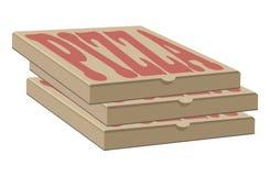 Vektordesign auf Lager von drei Kästen für Pizza Kasten mit Planelementen Lizenzfreie Stockfotografie