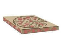 Vektordesign auf Lager von Kästen für Pizza Kasten mit Planelementen Kraftpapierpappe und -zeichen Stockbilder