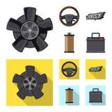Vektordesign av automatisk- och delsymbolen Uppsättning av illustrationen för automatisk- och bilmaterielvektor royaltyfri illustrationer