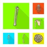 Vektordesign av benet och det skelett- tecknet Samling av benet och mänsklig vektorsymbol för materiel royaltyfri illustrationer