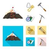 Vektordesign av bergsbestigning- och maximumtecknet Uppsättning av illustrationen för bergsbestigning- och lägermaterielvektor royaltyfri illustrationer