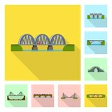 Vektordesign av bridgework- och brotecknet St?ll in av bridgework- och gr?nsm?rkevektorsymbolen f?r materiel stock illustrationer