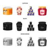 Vektordesign av can- och matsymbolen Uppsättning av can- och packevektorsymbolen för materiel stock illustrationer