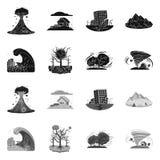 Vektordesign av den naturlig och katastroflogoen Samling av den naturlig och för riskmaterielvektor illustrationen vektor illustrationer