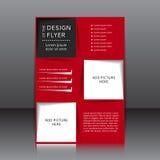 Vektordesign av den röda reklambladet med svarta beståndsdelar och ställen för bilder Arkivbilder