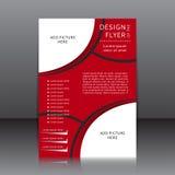 Vektordesign av den röda reklambladet med svarta beståndsdelar och ställen för bilder Royaltyfria Foton