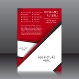 Vektordesign av den röda reklambladet med svarta beståndsdelar och ställen för bilder Royaltyfria Bilder