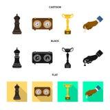 Vektordesign av den schackmatta och tunna logoen Samling av schackmatt- och målvektorsymbolen för materiel vektor illustrationer