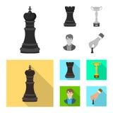 Vektordesign av den schackmatta och tunna logoen Samling av schackmatt- och målvektorsymbolen för materiel stock illustrationer