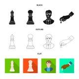 Vektordesign av den schackmatta och tunna logoen Ställ in av schackmatt och illustration för målmaterielvektor stock illustrationer