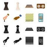 Vektordesign av den schackmatta och tunna logoen Ställ in av schackmatt- och målmaterielsymbolet för rengöringsduk stock illustrationer