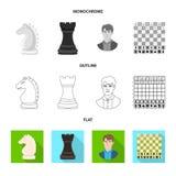 Vektordesign av den schackmatta och tunna logoen Ställ in av schackmatt- och målvektorsymbolen för materiel royaltyfri illustrationer