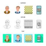 Vektordesign av den schackmatta och tunna logoen St?ll in av schackmatt och illustration f?r m?lmaterielvektor vektor illustrationer
