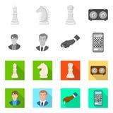 Vektordesign av den schackmatta och tunna logoen St?ll in av schackmatt- och m?lvektorsymbolen f?r materiel vektor illustrationer