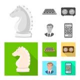 Vektordesign av den schackmatta och tunna symbolen Ställ in av schackmatt och illustration för målmaterielvektor stock illustrationer