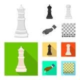 Vektordesign av den schackmatta och tunna symbolen Ställ in av schackmatt- och målmaterielsymbolet för rengöringsduk stock illustrationer