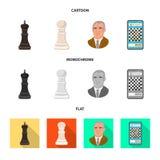 Vektordesign av den schackmatta och tunna symbolen Ställ in av schackmatt- och målvektorsymbolen för materiel royaltyfri illustrationer