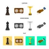 Vektordesign av den schackmatta och tunna symbolen Ställ in av schackmatt- och målvektorsymbolen för materiel vektor illustrationer
