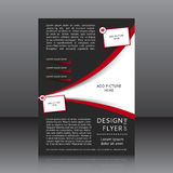 Vektordesign av den svarta reklambladet med röda beståndsdelar och ställen för bilder Royaltyfri Bild