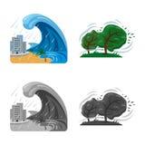 Vektordesign av det naturlig och katastrofsymbolet Uppsättning av det naturlig och riskmaterielsymbolet för rengöringsduk vektor illustrationer
