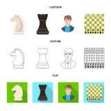 Vektordesign av det schackmatta och tunna symbolet Ställ in av schackmatt och illustration för målmaterielvektor royaltyfri illustrationer