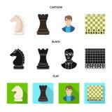 Vektordesign av det schackmatta och tunna symbolet Ställ in av schackmatt- och målvektorsymbolen för materiel royaltyfri illustrationer