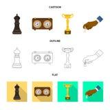 Vektordesign av det schackmatta och tunna tecknet Samling av schackmatt och illustrationen för målmaterielvektor stock illustrationer