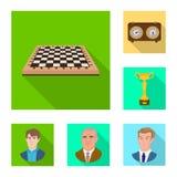 Vektordesign av det schackmatta och tunna tecknet Samling av schackmatt- och målmaterielsymbolet för rengöringsduk vektor illustrationer