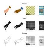 Vektordesign av det schackmatta och tunna tecknet Ställ in av schackmatt och illustration för målmaterielvektor royaltyfri illustrationer