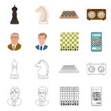Vektordesign av det schackmatta och tunna tecknet Ställ in av schackmatt- och målmaterielsymbolet för rengöringsduk stock illustrationer