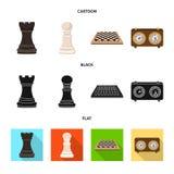 Vektordesign av det schackmatta och tunna tecknet Ställ in av schackmatt- och målvektorsymbolen för materiel stock illustrationer
