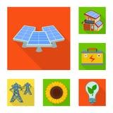 Vektordesign av det sol- och paneltecknet Samlingen av sol- och gräsplan lagerför vektorillustrationen stock illustrationer