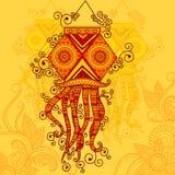 Vektordesign av Diwali den hängande lampan royaltyfri illustrationer