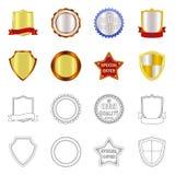 Vektordesign av emblem- och emblemlogoen Uppsättning av emblem- och klistermärkematerielsymbolet för rengöringsduk stock illustrationer