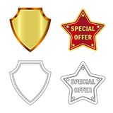 Vektordesign av emblem- och emblemlogoen Uppsättning av emblem- och klistermärkevektorsymbolen för materiel stock illustrationer