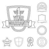 Vektordesign av emblem- och emblemsymbolen Samling av illustrationen för emblem- och klistermärkematerielvektor royaltyfri illustrationer