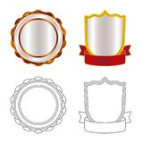Vektordesign av emblem- och emblemtecknet Uppsättning av emblem- och klistermärkematerielsymbolet för rengöringsduk royaltyfri illustrationer