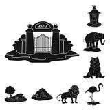 Vektordesign av fauna- och underhållningsymbolet Uppsättning av faunor och att parkera materielsymbolet för rengöringsduk stock illustrationer