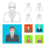 Vektordesign av frisyr- och yrkelogoen Samling av frisyr- och teckenvektorsymbolen f?r materiel royaltyfri illustrationer