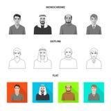 Vektordesign av frisyr- och yrkelogoen Ställ in av frisyr- och teckenmaterielsymbolet för rengöringsduk stock illustrationer
