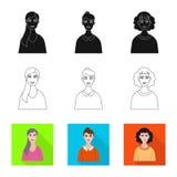 Vektordesign av frisyr- och yrkesymbolet Samling av frisyr- och teckenvektorsymbolen f?r materiel stock illustrationer