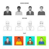 Vektordesign av frisyr- och yrkesymbolet Ställ in av illustration för frisyr- och teckenmaterielvektor vektor illustrationer