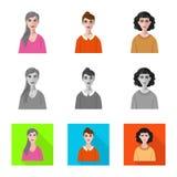 Vektordesign av frisyr- och yrkesymbolet St?ll in av frisyr- och teckenmaterielsymbolet f?r reng?ringsduk vektor illustrationer