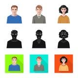 Vektordesign av frisyr- och yrketecknet Samling av frisyr- och teckenmaterielsymbolet f?r reng?ringsduk stock illustrationer