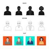 Vektordesign av frisyr- och yrketecknet Ställ in av illustration för frisyr- och teckenmaterielvektor royaltyfri illustrationer